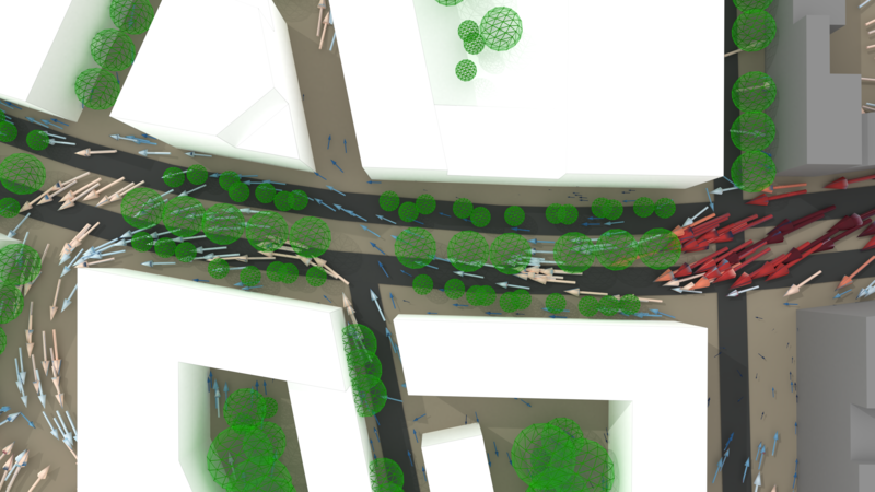 Pedestrian wind comfort planning for urban environments. Street canyon wind and tree effect.