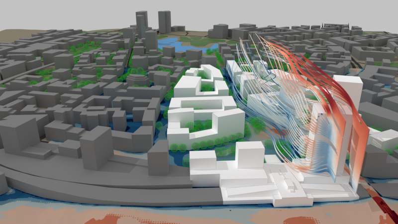 Wind streamlines over high buildings in urban master planning project.