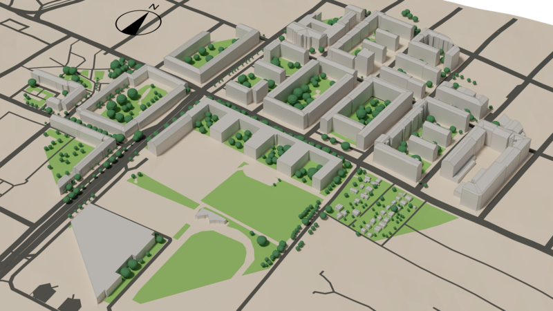 Model area for microclimate simulation: includes high-fidelity buildings with full roof structure, various forms of trees, soil and grass and terrain.