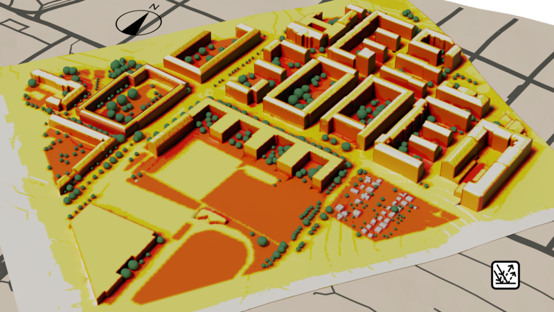 Urban microclimate simulation - solar radiation on surfaces including shadows from buildings and trees.